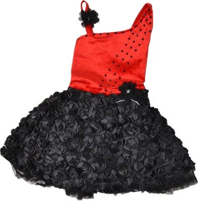 Kid's Stop Girl's Fit and Flare Black, Red Dress