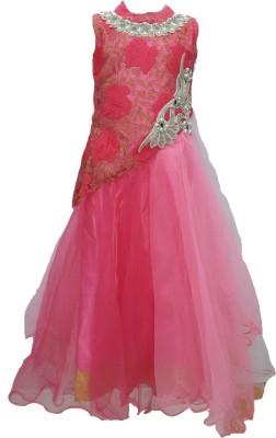 Pogo Girl's Gathered Pink Dress