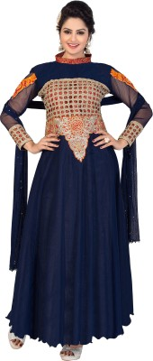 Khoobee Net Self Design, Embroidered, Embellished Semi-stitched Gown