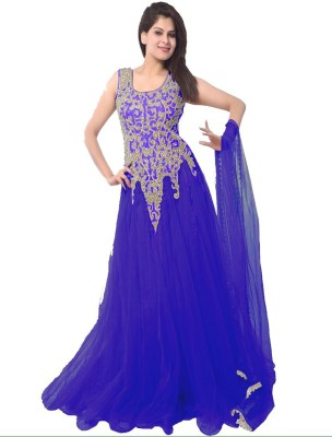 Thankar Net Embroidered Semi-stitched Gown & Salwar Material