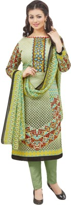 Sitaram Creation Cotton Printed Semi-stitched Gown & Waistcoat Material