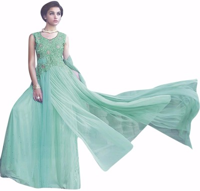 Fladorfabric Georgette Embroidered Semi-stitched Gown, Salwar and Dupatta Material