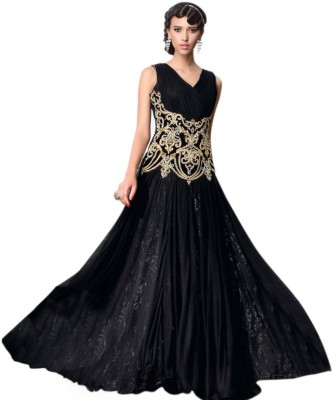 SMARTLOOK Net Embroidered Semi-stitched Gown, Salwar and Dupatta Material