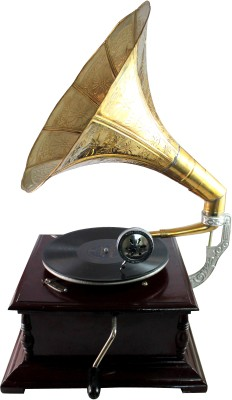 Interio Crafts Premium Wooden, Brass Gramophone