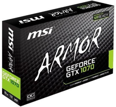 MSI NVIDIA GTX 1070 ARMOR 8G OC 8 GB GDDR5 Graphics Card(Black)