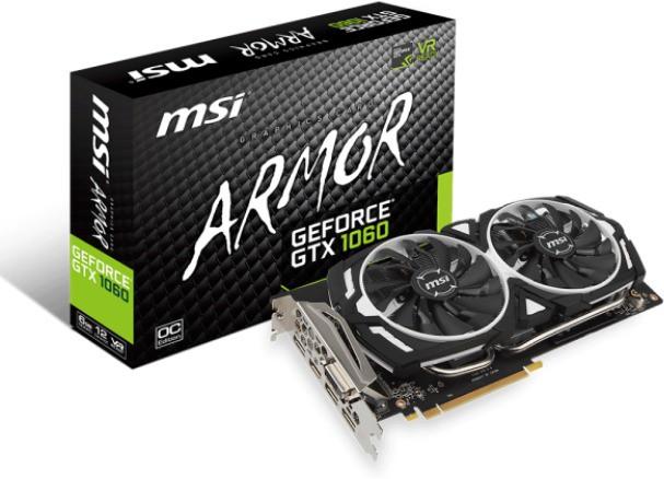 MSI NVIDIA GEFORCE� GTX 1060 ARMOR 6G OC 6 GB GDDR5 Graphics Card(Grey)