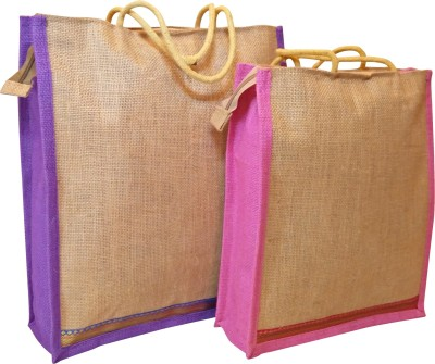 Homekitchen99 CSM Combo Of 2 Multipurpose Jute - Assorted Colors Pack of 2 Grocery Bags