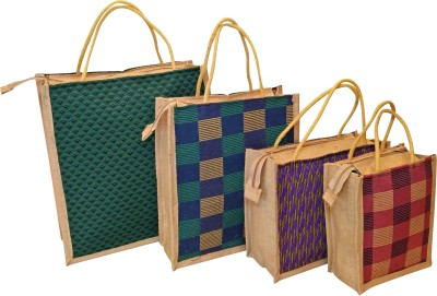 Homekitchen99 CSM Combo of 4 Printed Multipurpose Jute - Assorted Colors Pack of 4 Grocery Bags