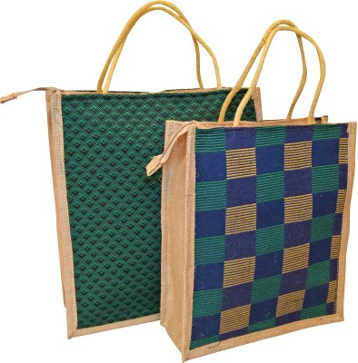 Homekitchen99 CSM Combo of 2 Printed Multipurpose Jute - Assorted Colors Pack of 2 Grocery Bags