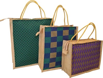 Homekitchen99 CSM Combo of 3 Printed Multipurpose Jute - Assorted Colors Pack of 3 Grocery Bags