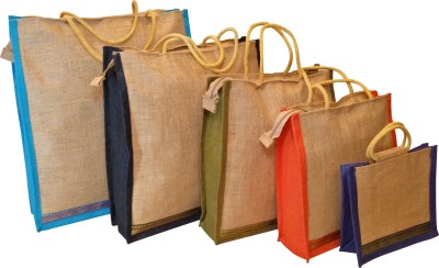 Homekitchen99 CSM Combo Of 5 Multipurpose Jute - Assorted Colors Pack of 5 Grocery Bags