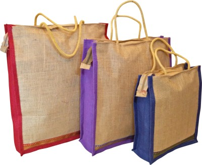 Homekitchen99 CSM Combo Of 3 Multipurpose Jute - Assorted Colors Pack of 3 Grocery Bags