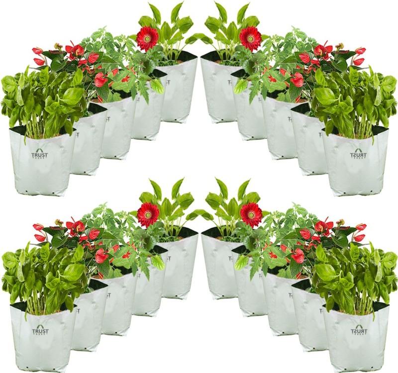 TrustBasket Large Poly Grow Bags Uv Stabilized 20 Qty [24Cms(L)X24Cms(W)X40Cms(H)] Grow Bag
