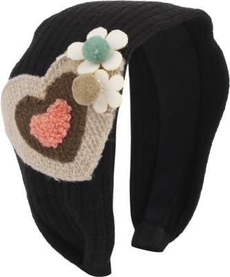 Fayon Fashion Statement Black woolen Heart Hair Band
