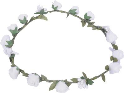 Sanjog White Flower Gracious Tiara Crown For Wedding Party Beach For Women Girls Head Band
