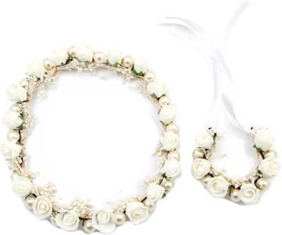 Sanjog Pearl Tiara/Crown And Matching Hand Tiara/Puff Wrap For Wedding For Bride/bridesmaid/Birthday Girls Hair Accessory Set