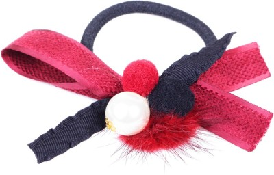 Ayesha Red ribbon bow and pearl hair tie Rubber Band