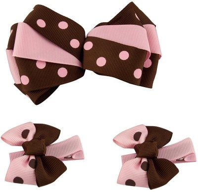 Babies Bloom Polka Dot Pink and Black Bow and Hair Clip(Pink, Brown)