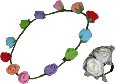 GD Multicolor Floral Head band with Rubberband Hair Accessory Set