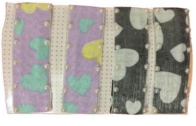 Ecombasket Set of 4 Large Multicolor Designer Silk with Pearls Tic Tac Clip