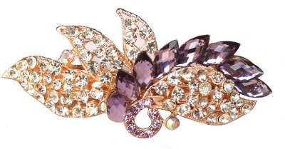 Shreya Collection Fancy Purple & White Stone Studded Metal Hair Clip Back Pin