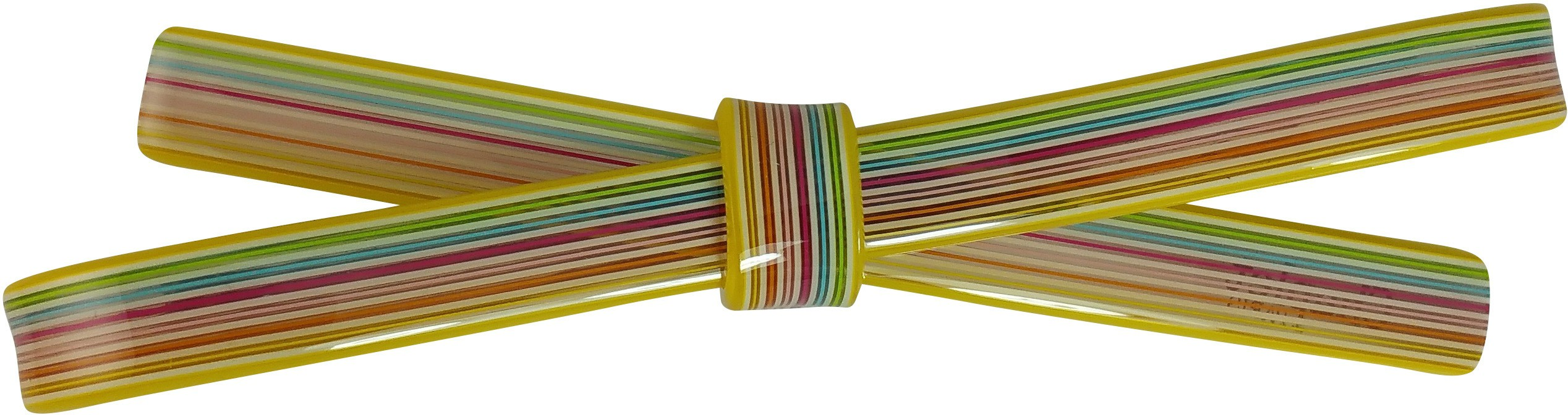 Ammvi Creations 10 mm Multicolur Straight Swatches Pattern Sleek Bow Mud for Women Hair Clip(Yellow)