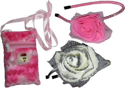 ASMO Big Pink & White Floral Hairband with Bag Hair Accessory Set