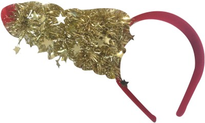 NeedyBee Christmas Red And Golden Shimmery Party Tree Baby Xmas Hair Band