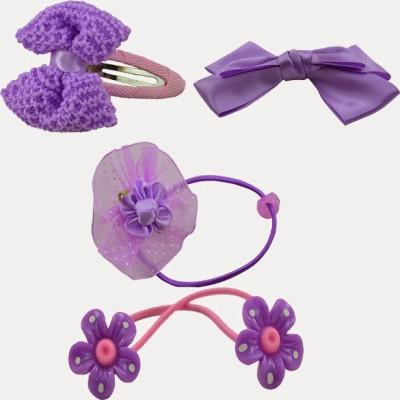 Angel Glitter Purple Jasmine Clips For Cute Girls Combo Hair Accessory Set