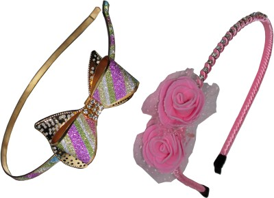GD Metal Bow & Pink Floral Hair Accessory Set