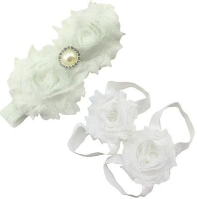 AkinosKIDS Newborn Flower and Pearl girl Barefoot Sandal shoe set Hair Accessory Set(White)