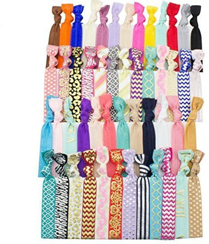 LIKA SUPPLY LLC JLIKA Ribbon Hair Ties Ponytail Holders (SET OF 50) Hair Accessory Set(Multicolor)