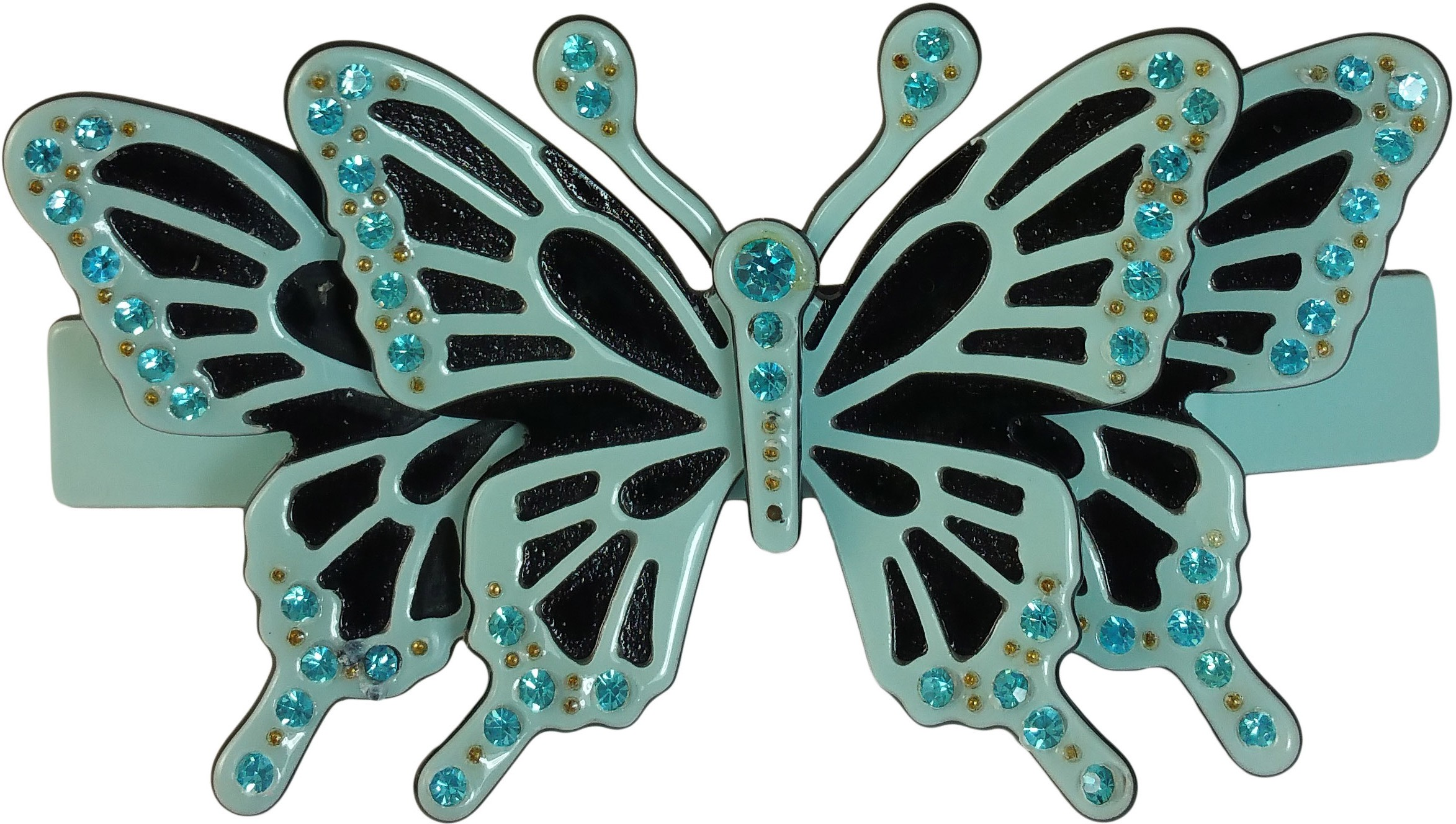 Ammvi Creations Gracious Butterfly Double Layered CZ Embellished for Women Hair Clip(Blue)