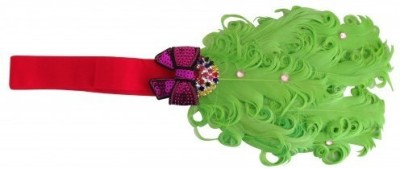 NeedyBee Baby Girl Christmas Red and Green Children Metal Bow with Feather Head Band