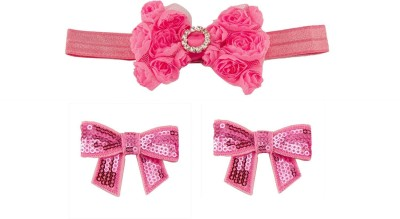 Babies Bloom Party Pink Ribbon Bow Band and Hair Clip(Pink)