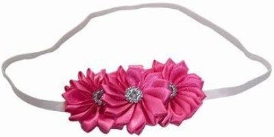 Pink & Blue India Newborn Satin Flowers with Soft Elastic Head Band