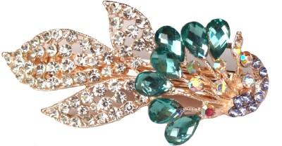 Shreya Collection Fashion Green & White Stone Studded Metal Hair Clip Back Pin