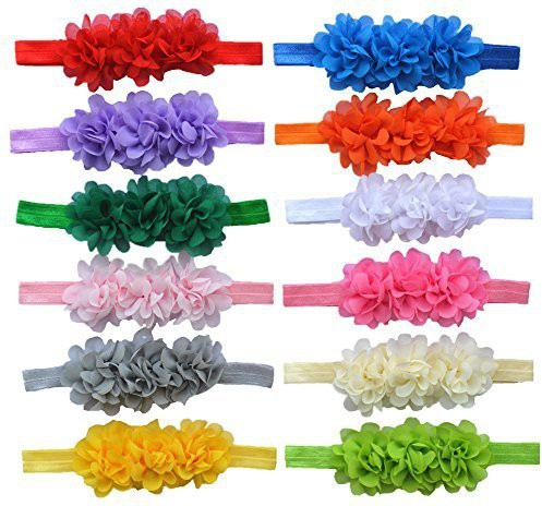Generic Qandsweet Baby Girl Headbands with Chiffon Flowers (Pack of 12) Head Band(Multicolor)