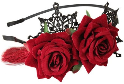 Young & Forever Red Velvet Roses Hair Band