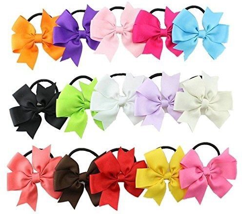 "Bzybel Boutique Baby Girls 3.5"" Grosgrin Ribbon Hair Bows Ponytail Holderes Hair Ties for Teens and Young Women 15pcs Hair Accessory Set(Multicolor)"
