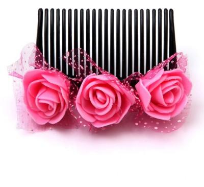 Sanjog Vintage Style Dark Pink Flower Comb For Wedding/Beach/Party Hair Clip