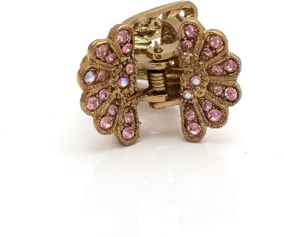 Be You Pink Colour Stones Work Butterfly Hair Clip