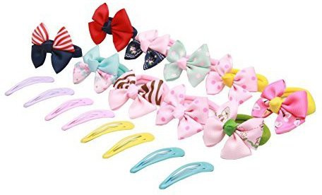AUSKY 10 Pieces Boutique Diffrent Colors Girl Toddler Hair Tie ponytail holders, Hair Bands for Thick Hair Young Girls,Teens, 4 pairs BB Hair clips for Children Hair Clip(Multicolor)