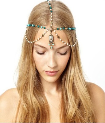 Shining Diva Hair Chain(Blue, White, Gold)
