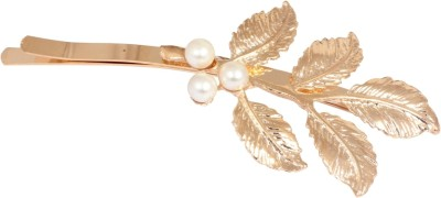 Crunchy Fashion Contemporary Leaves with Pearl Twist Hair Pin