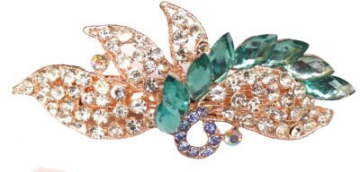 Shreya Collection Fancy Green & White Stone Studded Metal Hair Clip Back Pin