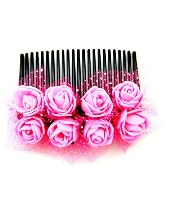 Sanjog Vintage Style Baby Pink 8 Flower Comb For Wedding/Party Hair Clip