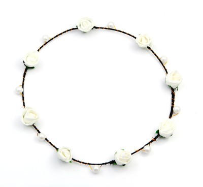Sanjog White And Pearl 8 Flowers Tiara For Girls/Women For Wedding/Party Head Band