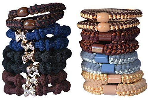 Bzybel Bzybel 16pcs Thick Solid Stretch Pony Elastics Ponytail Holders Hair Ties Hair Accessory Set(Multicolor)