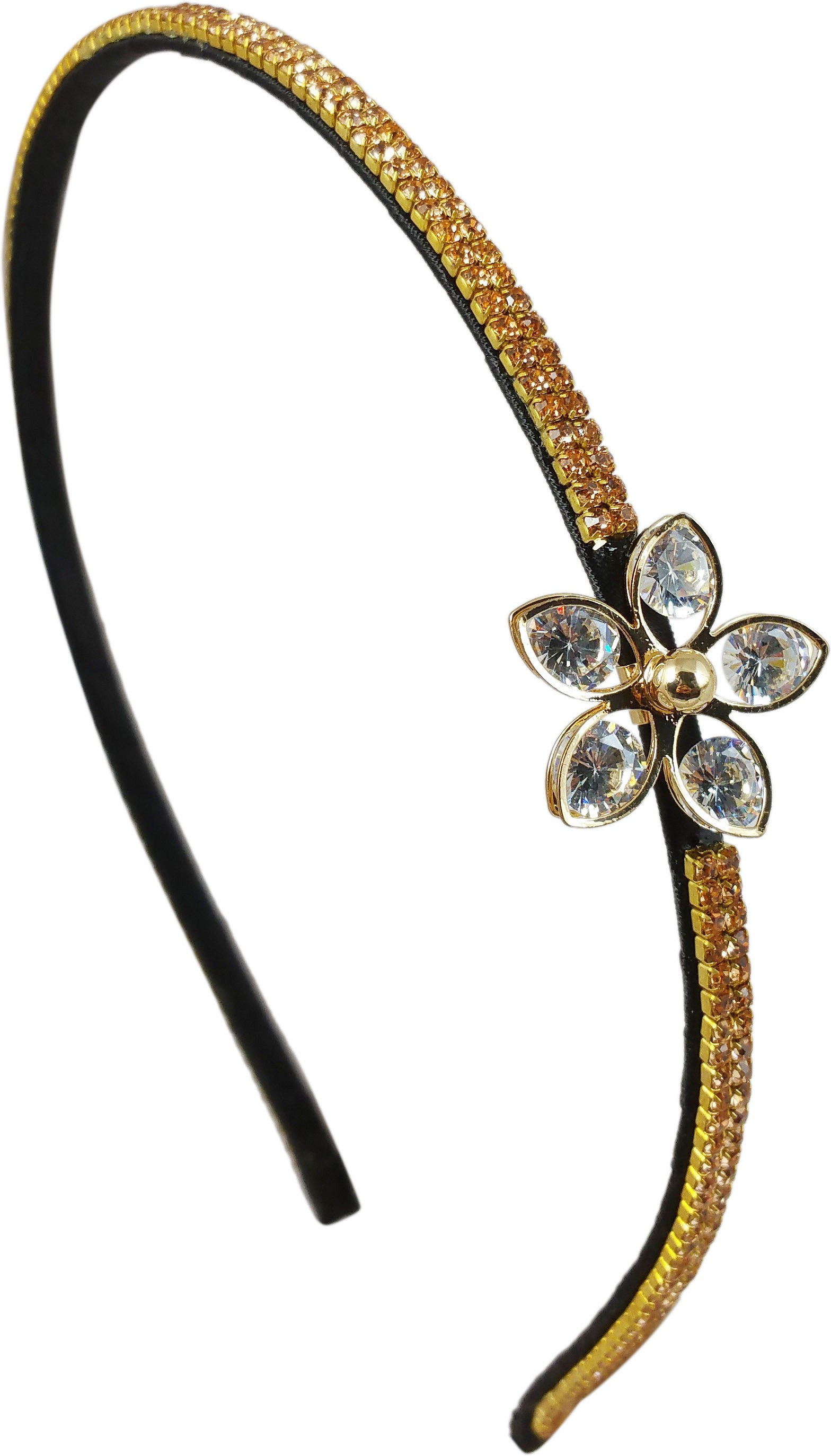 Ammvi Creations Crystal Flower Charm Golden CZ Embellished Exclusive for Women Hair Band(Multicolor)